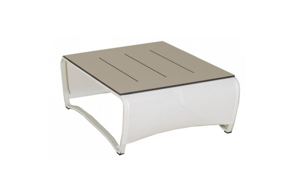 Table basse jet stream les jardins 100 x 100 cm latour mobilier de jardin - Table basse en aluminium ...
