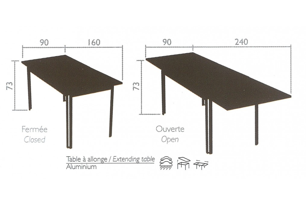 Table Costa 160/240 x 90 cm FERMOB