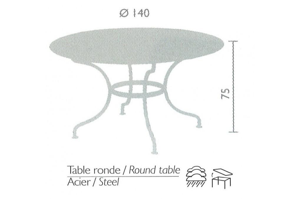 table romane fermob ronde diam 137 cm latour mobilier de jardin. Black Bedroom Furniture Sets. Home Design Ideas