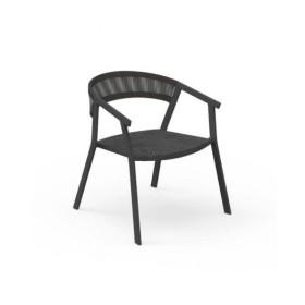 Fauteuil Key Alu Charcoal Corde et Textilène Black TALENTI