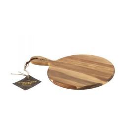 Planche apéritive ronde avec poignée en Acacia - Point virgule