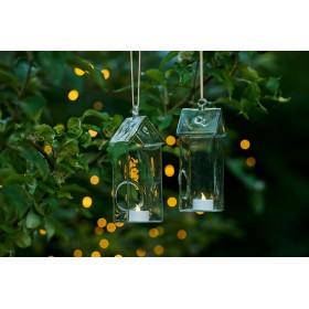 Set de 2 photophores en verre Maison avec bougies LED - SIRIUS